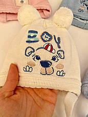 Демисезоннные шапочки для новорожденного  с завязочками и бубоном на возраст 0-3 мес, фото 3