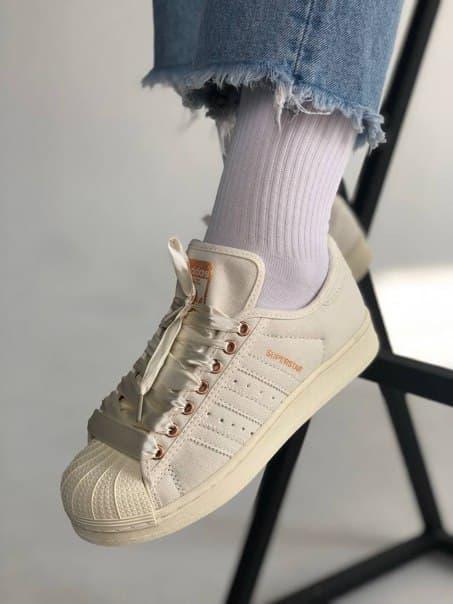 Женские текстильные кроссовки Adidas Superstar (два цвета)