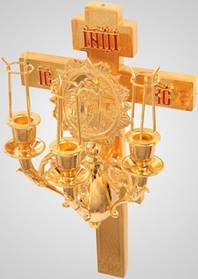 Трехсвечник на кресте Пасхальный золоченный Софр.