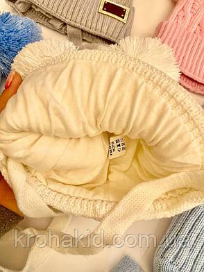 Демисезоннные шапочки для новорожденного с завязочками и бубонами на возраст 6-12 мес, фото 2