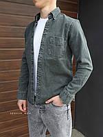 Чоловіча джинсова сорочка темний хакі