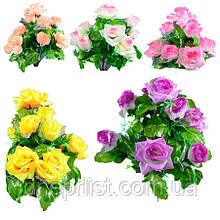 """Букет искусственный """"Розы с фатиновой юбкой"""" 10 цветков, 7 см, 43 см (9 видов)"""