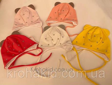 Трикотажні шапочки для новонародженого з зав'язочками на вік 0-3 міс, фото 2
