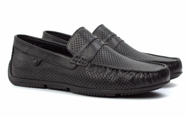 Літні чоловічі мокасини чорні шкіряні взуття великих розмірів ETHEREAL Floto BlackPerf BS by Rosso Avangard