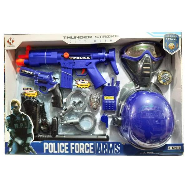 Набір поліцейського з каскою маскою наручниками дитячий Thunder Strike Синій (57363)