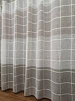Тюль лен квадраты с бежевым