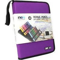 Пенал рулон Neo Line для карандашей 36шт.з мешочком б/нап. черн + фиолет
