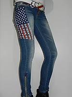 Узкие джинсы женские с флагом сша демисезонные Revolt 1547 Турция рр. 26, 27
