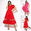 Р 50-56 Коттоновое платье с воланами средней длины Батал 23640
