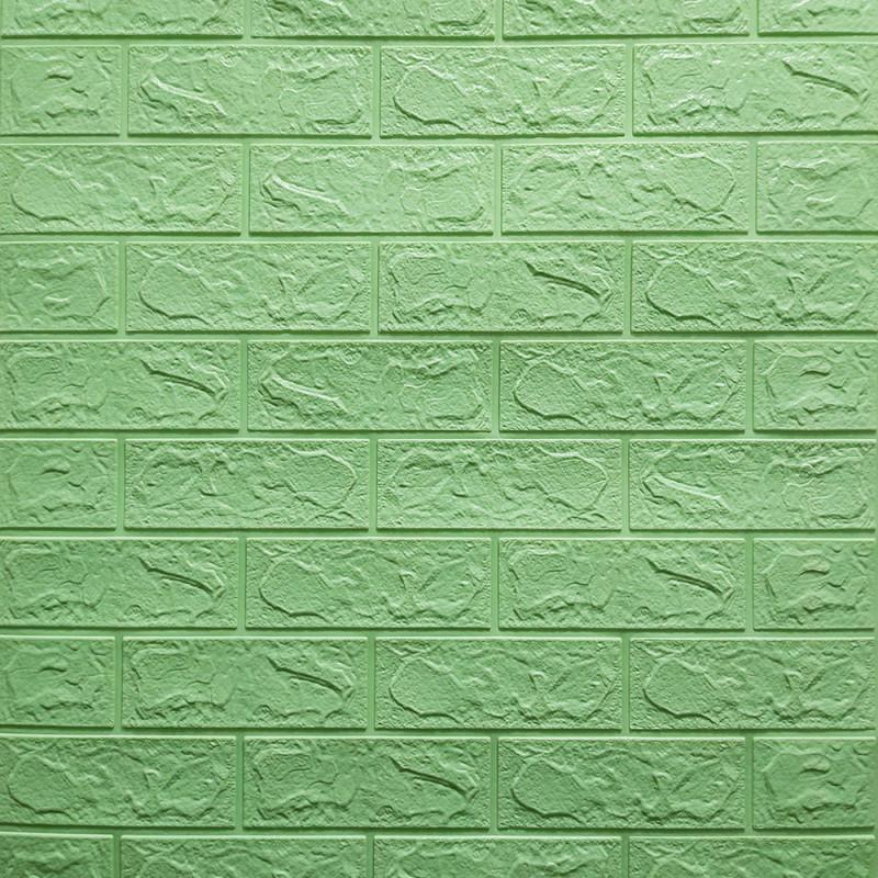 Декоративная 3D панель стеновая самоклеющаяся под кирпич МЯТА 700х770х3мм (в упаковке 10 шт)
