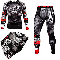 Мужской компрессионный костюм VENUM Wolf 3в1 : Рашгард, шорты, леггинсы. термо, комплект