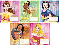 Набор тетрадей ученических 12 листов ТЕТРАДА DISNEY Princess косая линия картонная обложка 5 дизайнов 25 шт