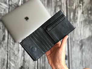 Чоловічий чорний гаманець з натуральної шкіри, фото 2