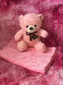 Іграшка-плед ведмедик рожевий