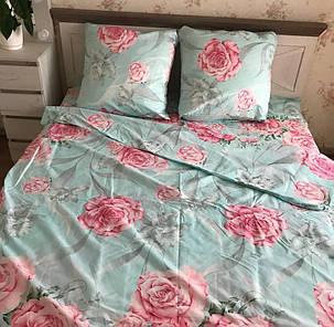 Комплект постільної білизни євро з трояндами, фото 2