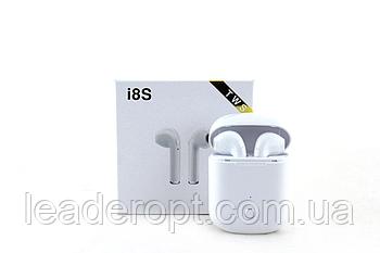 ОПТ Бездротові Bluetooth-навушники i8S copy гарнітура білі для айфона для андроїда