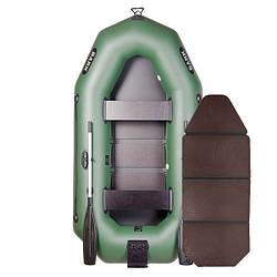 Надувний човен ПВХ Барк В-250N гребний, двомісна зі слань-книжкою