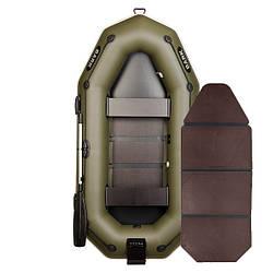 Надувний човен ПВХ Барк В-260NP гребний, двомісна зі слань-книжкою