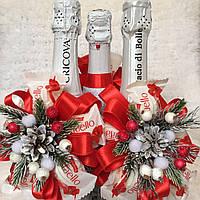 """Украшение для новогоднего шампанского """"Цветок из raffaello"""""""