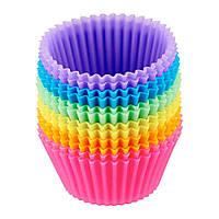 Силіконова форма для випічки кексів (10 шт) Набір різнокольорових силіконових форм для випічки кексів