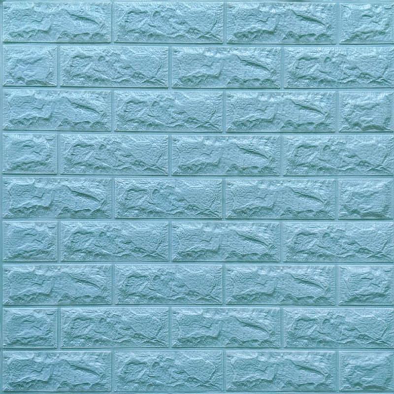 Декоративная 3D панель стеновая самоклеющаяся под кирпич БИРЮЗОВЫЙ 700х770х7мм