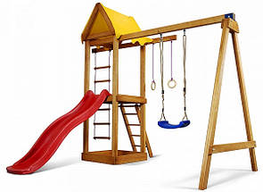 Уличная детская площадка с горкой, кольцами, лесенкой,качелямии песочницей для дачи и дома