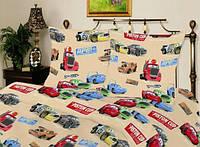 Детское полуторное постельное белье Тачки Piston Cup (беж)