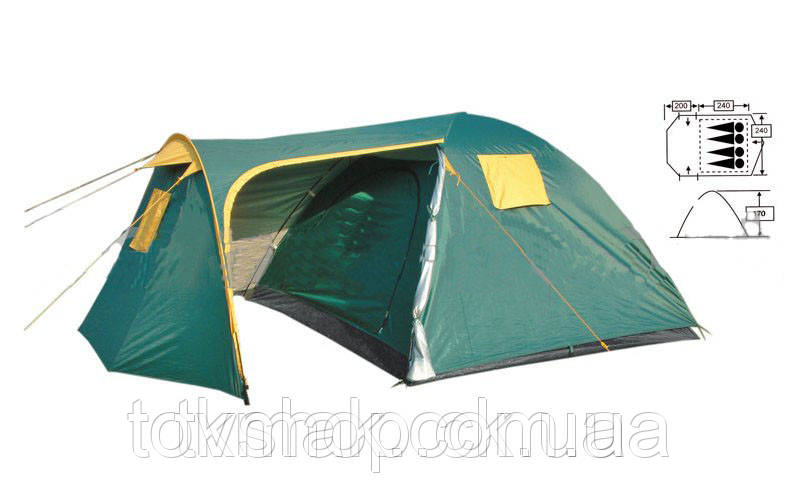 Палатка 4-х местная FRT-206-4 (200+240)*240*170см (полиэст 190T, дно PU 1000мм, с тент, швы прокл)