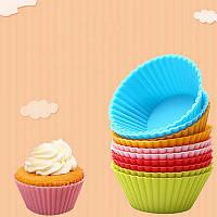 Силіконова форма для випічки кексів (10шт)Набор разноцветных силиконовых форм для выпечки кексов