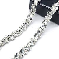 Стразовая лента с маркизами кристалл прозрачная (цена за 10см)