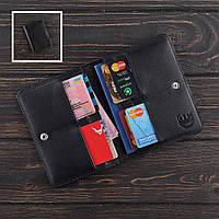 Кожаная обложка на паспорт-картхолдер ПРЕМИУМ с защитой карт от считывания RFID Fisher Gifts STANDART черная