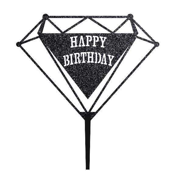 Пластиковий топпер Happy Birthday у формі рубіна Топпер Happy Birthday в чорних блискітках Пластикові топпери