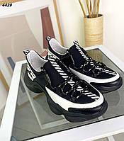Жіночі кросівки з натуральної шкіри і неопрену 36-41 р чорний, фото 1