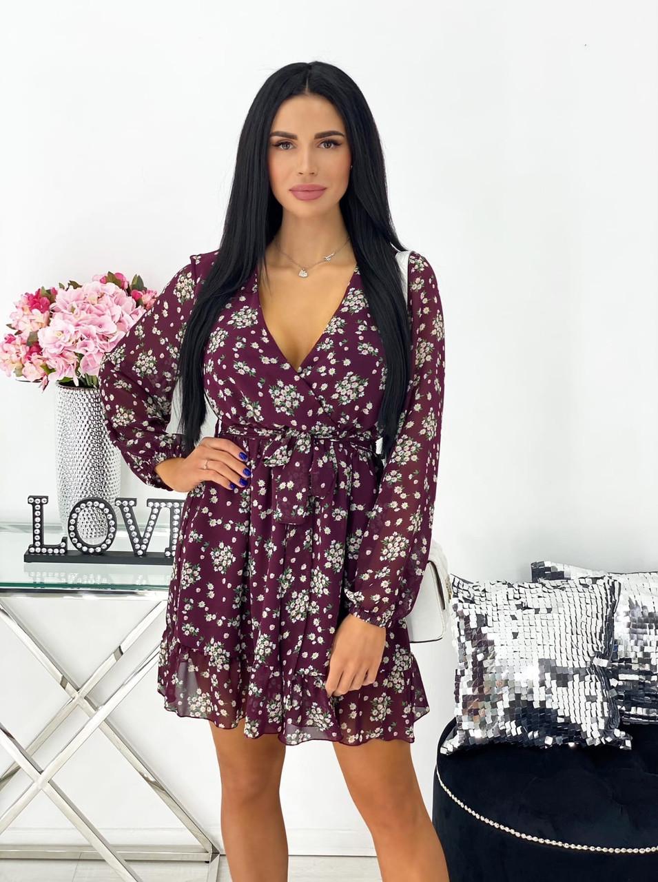 Стильное женское платье цветочный принт размеры 42 44 46 48 Новинка 2021 расцветки 4