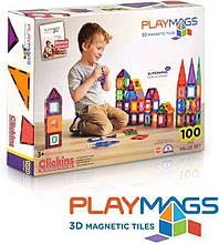 Магнітний конструктор Playmags 100-Piece Colorful tile Set
