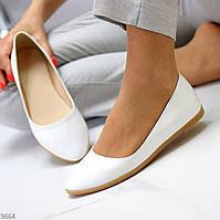 Балетки туфли кожаные женские белые классические Mommy