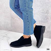 Женские замшевые высокие туфли лоферы 36-40 р чёрный, фото 1