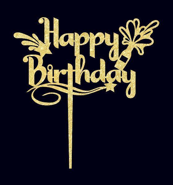 Праздничный топпер на торт Happy Birthday из пластика Топпер в золотых блестках Топпер на торт