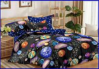"""Семейный комплект постельного белья модный практичный качественный из Бязи """"Голд"""" Ранфорс Галактика"""