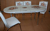 """Стол обеденный """"Buket"""" (стол овальный ДСП, каленное стекло) Mobilgen, Турция"""