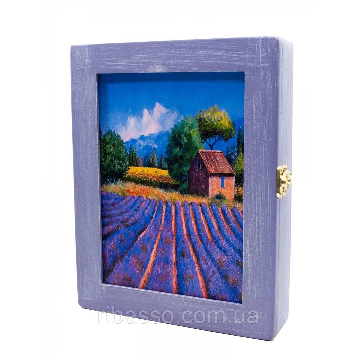 "Ключница ""Лаванда"", фиолетовая,массив дерева 25,5х19,5х5,5 см.A 26071A"