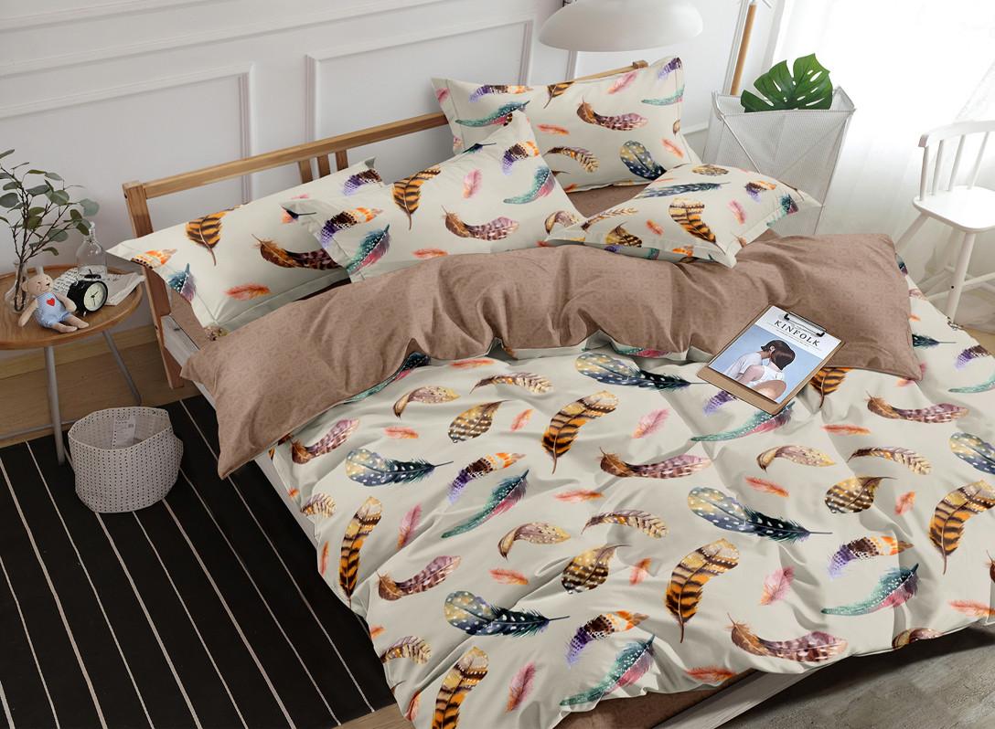 Двуспальный комплект постельного белья евро 200*220 сатин (16827) TM КРИСПОЛ Украина