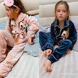 Детская велюровая пижамка! мальчик-девочка. Размеры :  6 лет до 14лет. Ткань велюр,цвет пудра, синий.
