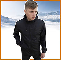 Короткая черная мужская куртка осень-весна с капюшоном, ветровка спортивная Soft Shell + подарок ключница