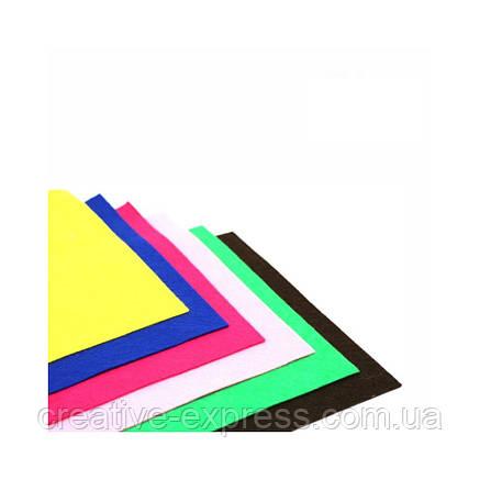 Фетр листковий (поліестер), 21,5х28 см, Жовтий, 180г/м2, ROSA Talent, фото 2