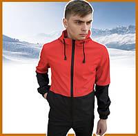 Короткая красно-черная мужская куртка осень-весна с капюшоном, ветровка спортивная Soft Shell + подарок