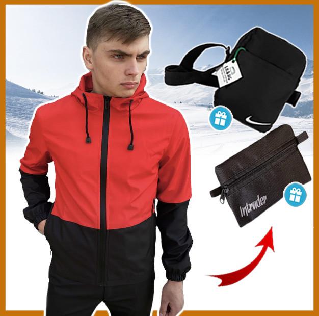 Короткая красно-черная мужская куртка осень-весна с капюшоном, ветровка спортивная Soft Shell + 2 подарка