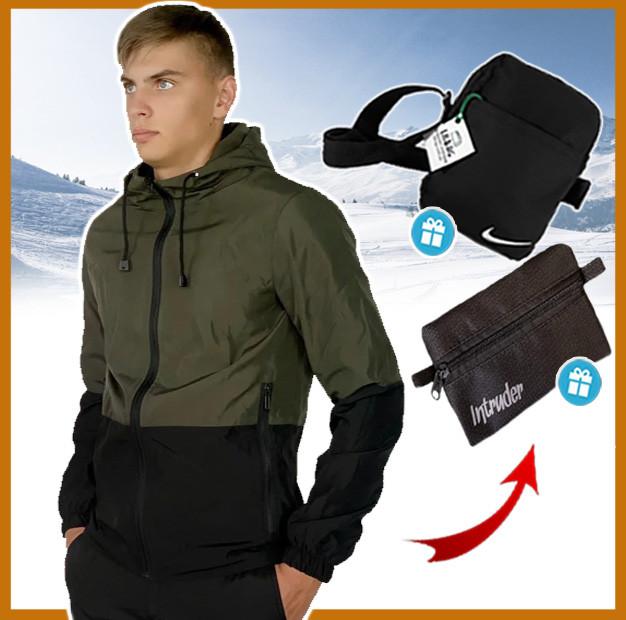 Куртка мужская хаки короткая с капюшоном весна - осень, ветровка спортивная Soft Shell + 2 подарка