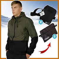 Куртка мужская хаки короткая с капюшоном весна - осень, ветровка спортивная Soft Shell + 2 подарка, фото 1
