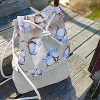 Рюкзак женский тканевый Бутоны хлопка